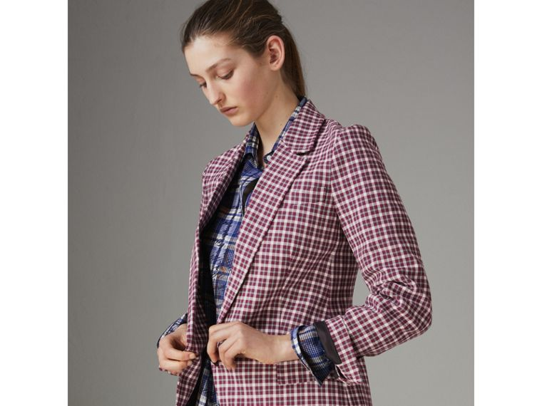 Check Cotton Tailored Jacket in Burgundy - Women | Burberry - cell image 4