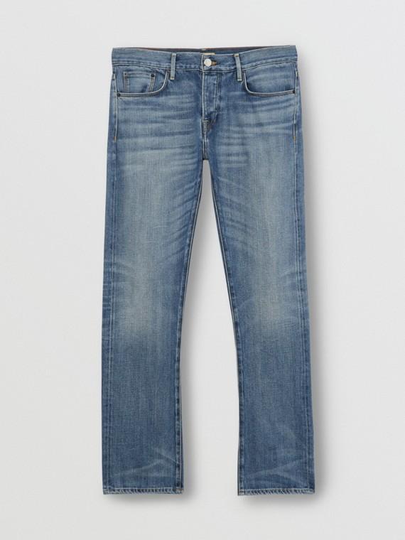Jeans dal taglio dritto in denim cimosa giapponese lavato (Indaco Chiaro)