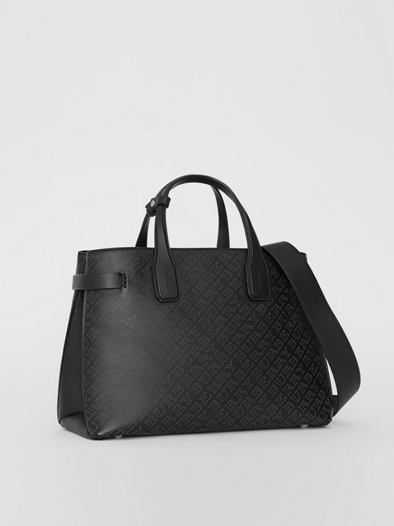 The Medium Banner in Perforated Logo Leather in Black