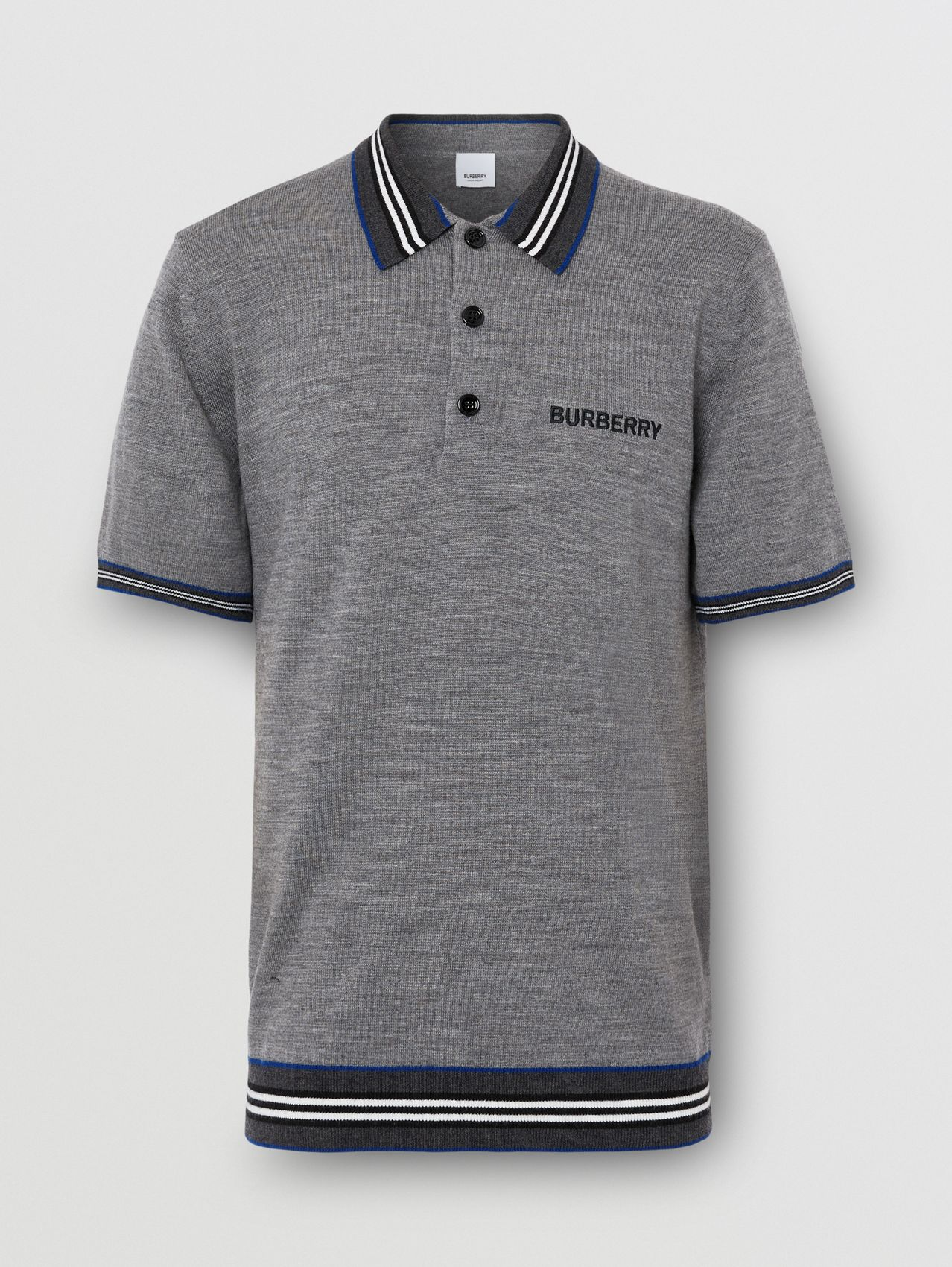 Icon Stripe Detail Merino Wool Polo Shirt in Dark Grey