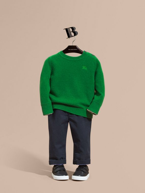 Check Detail Cashmere Sweater Bright Pigment Green
