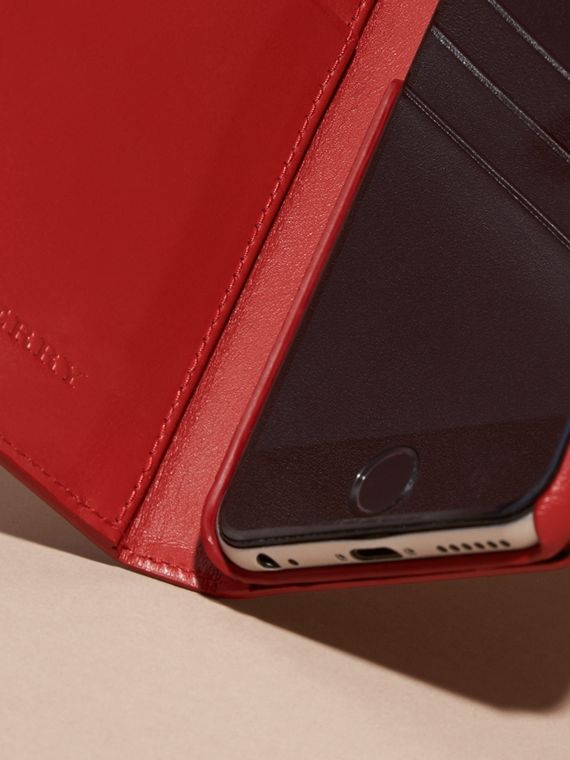 Dark military red London Leather iPhone 6 Flip Case - cell image 3