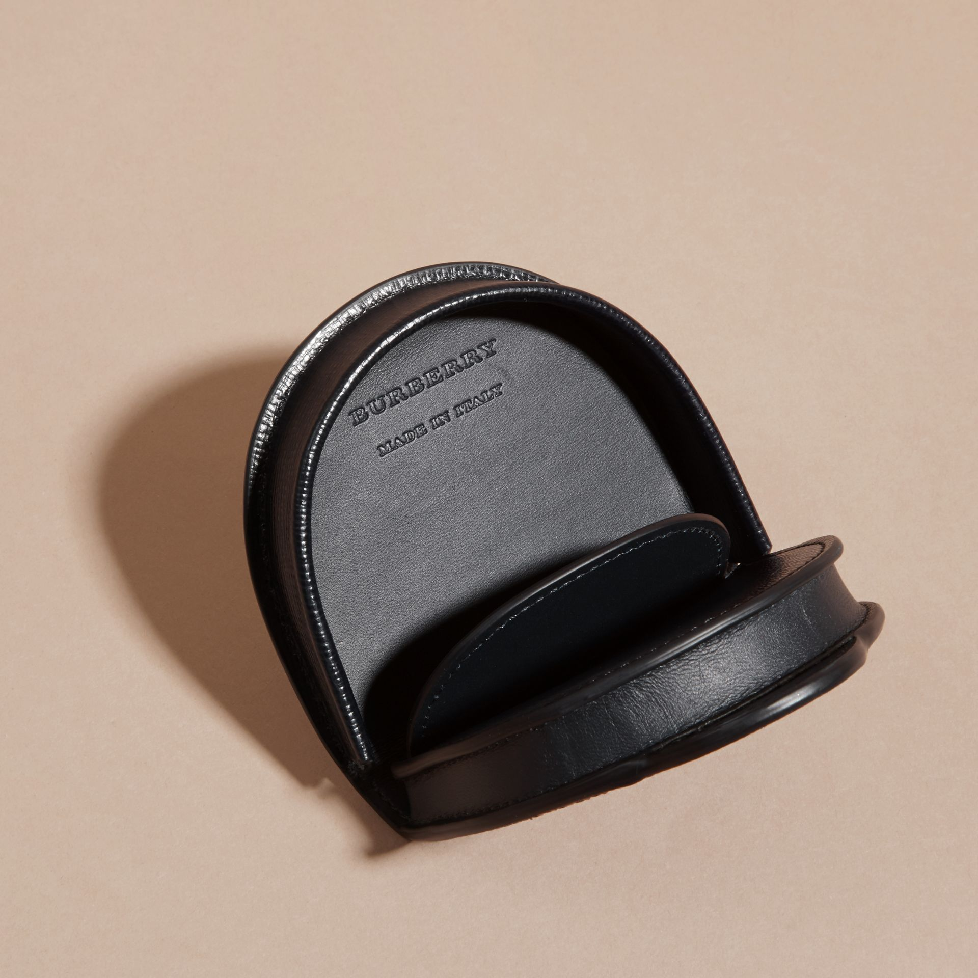 London Leather Coin Case in Dark Navy - Men | Burberry - gallery image 5