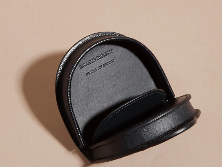 London Leather Coin Case in Dark Navy - Men | Burberry - cell image 4