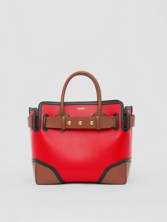 The Small Leather Triple Stud Belt Bag in Bright Red