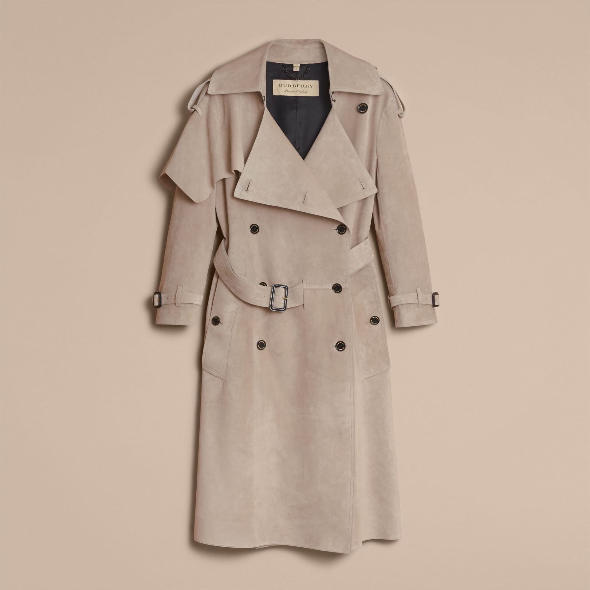 Suede Asymmetric Trench Coat - Women | Burberry - gallery image 4