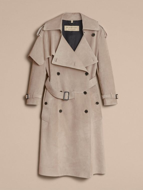 Trench coat asimmetrico in pelle scamosciata - Donna | Burberry - cell image 3