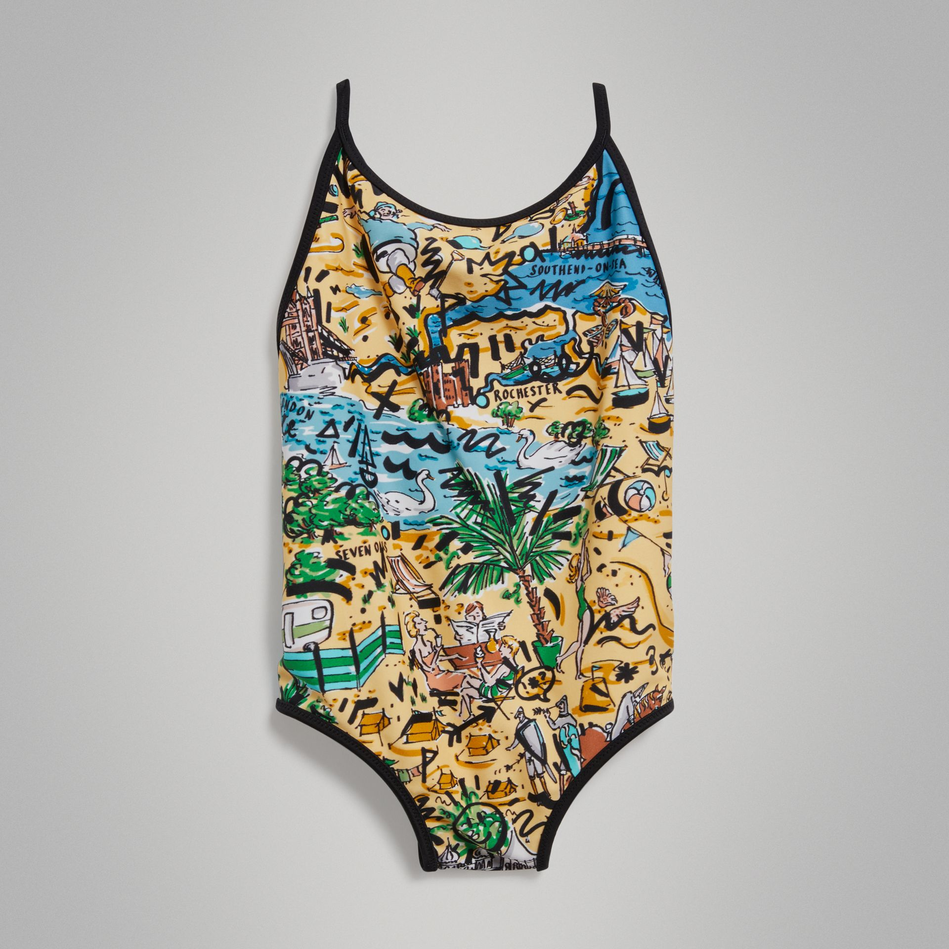 Seaside Print One-piece Swimsuit in Honey - Girl | Burberry Canada - gallery image 0