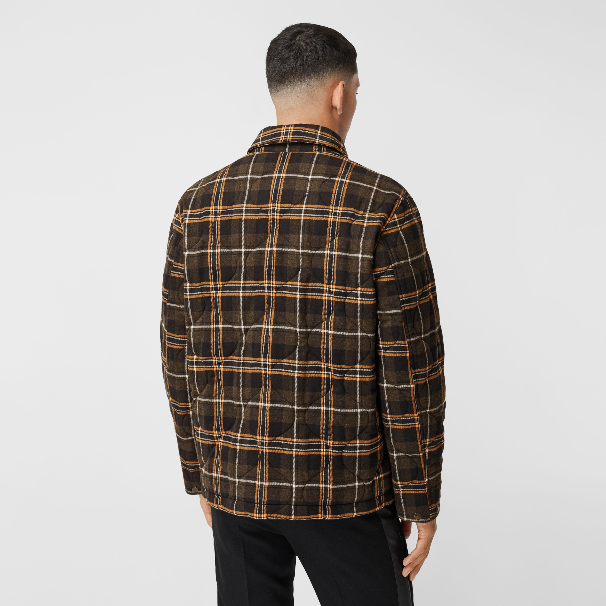 Contrast Pocket Check Cotton Flannel Overshirt in Olive - Men | Burberry - 3