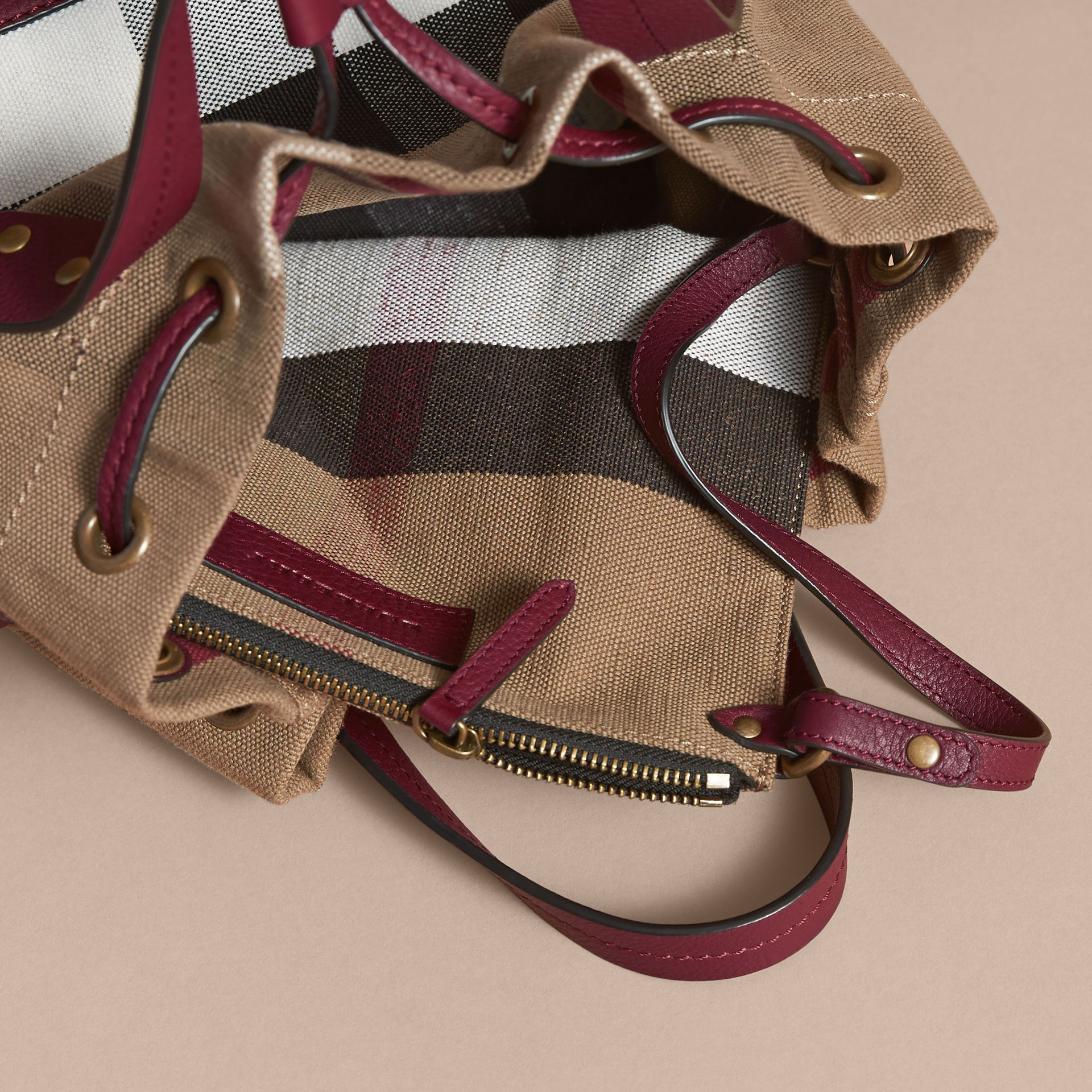 Small Canvas Check and Leather Bucket Bag in Burgundy Red - Women | Burberry Singapore - gallery image 6