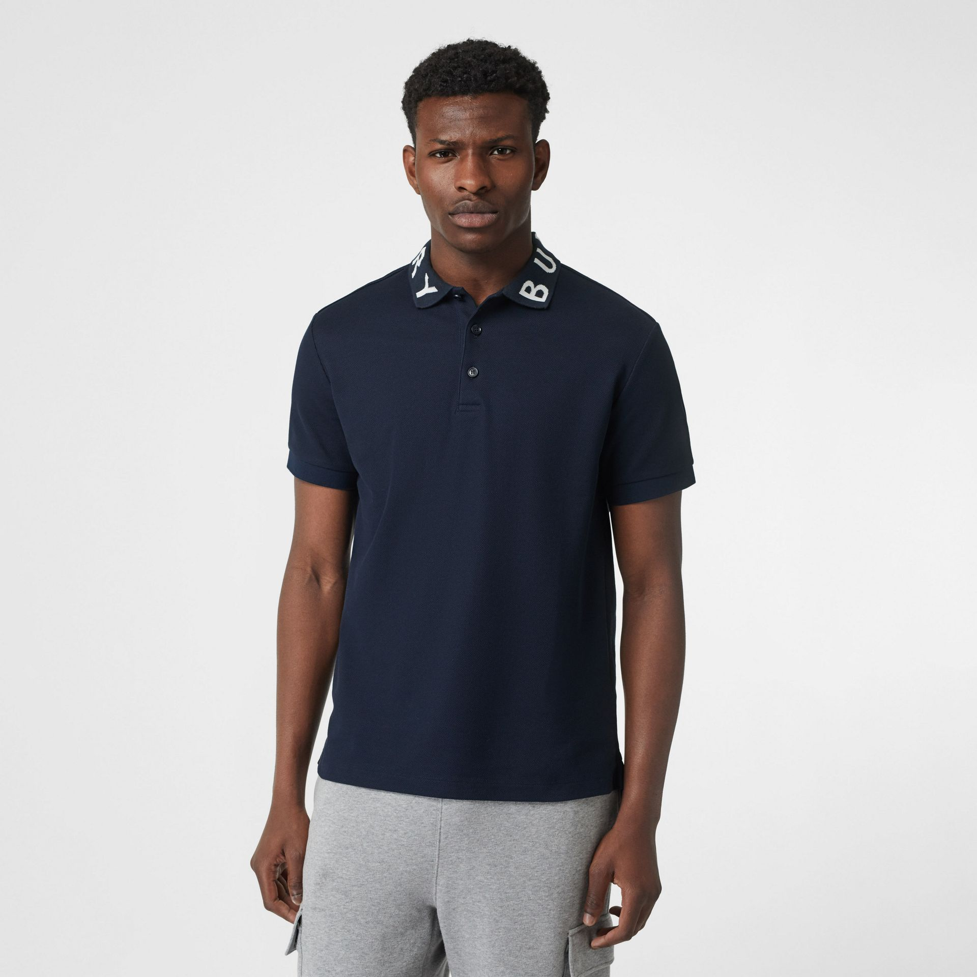 Logo Intarsia Cotton Piqué Polo Shirt in Navy - Men | Burberry - gallery image 0