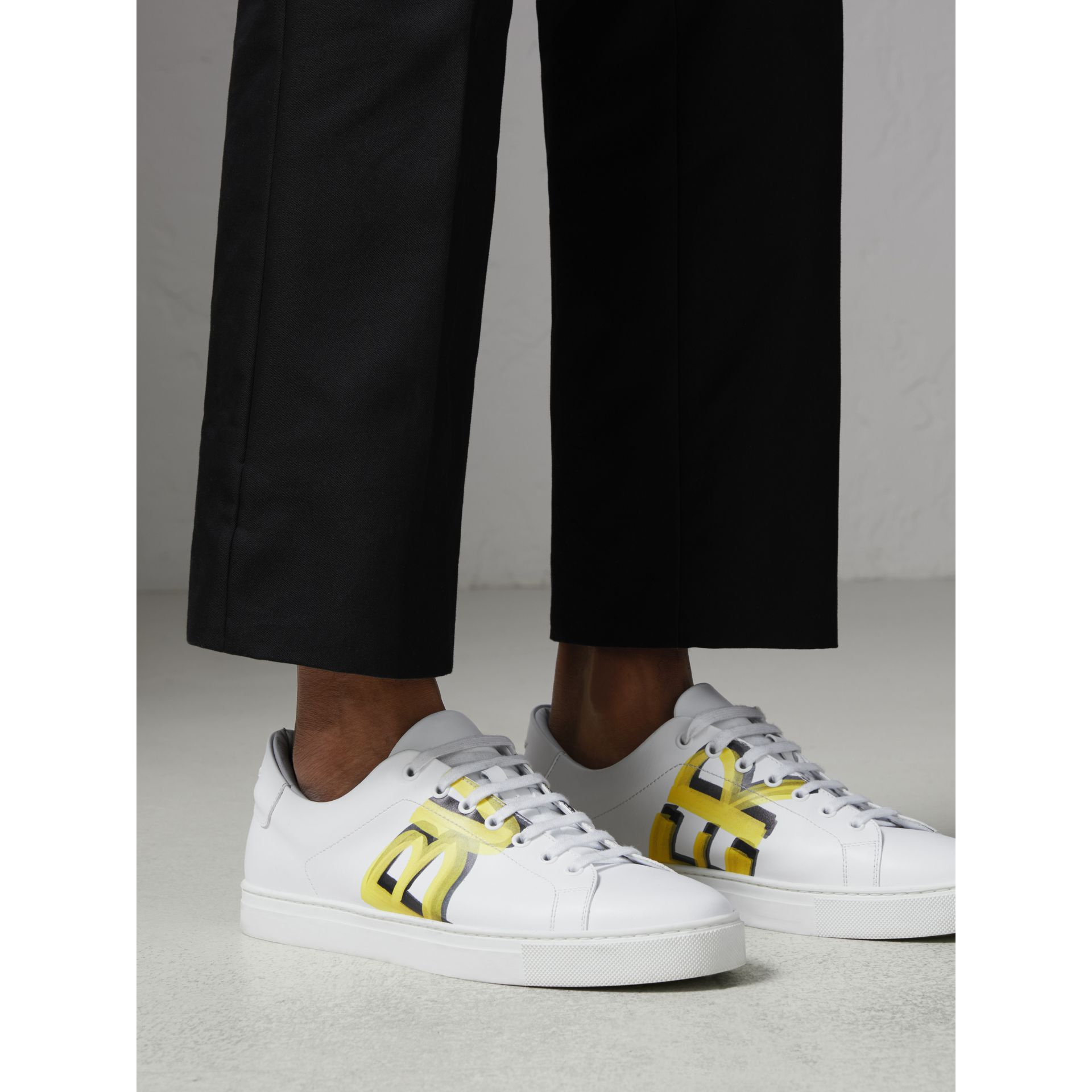 Logo Print Leather Sneakers in Optic White/yellow - Men | Burberry Australia - gallery image 2