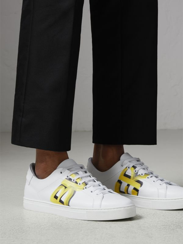 Logo Print Leather Sneakers in Optic White/yellow - Men | Burberry Australia - cell image 2