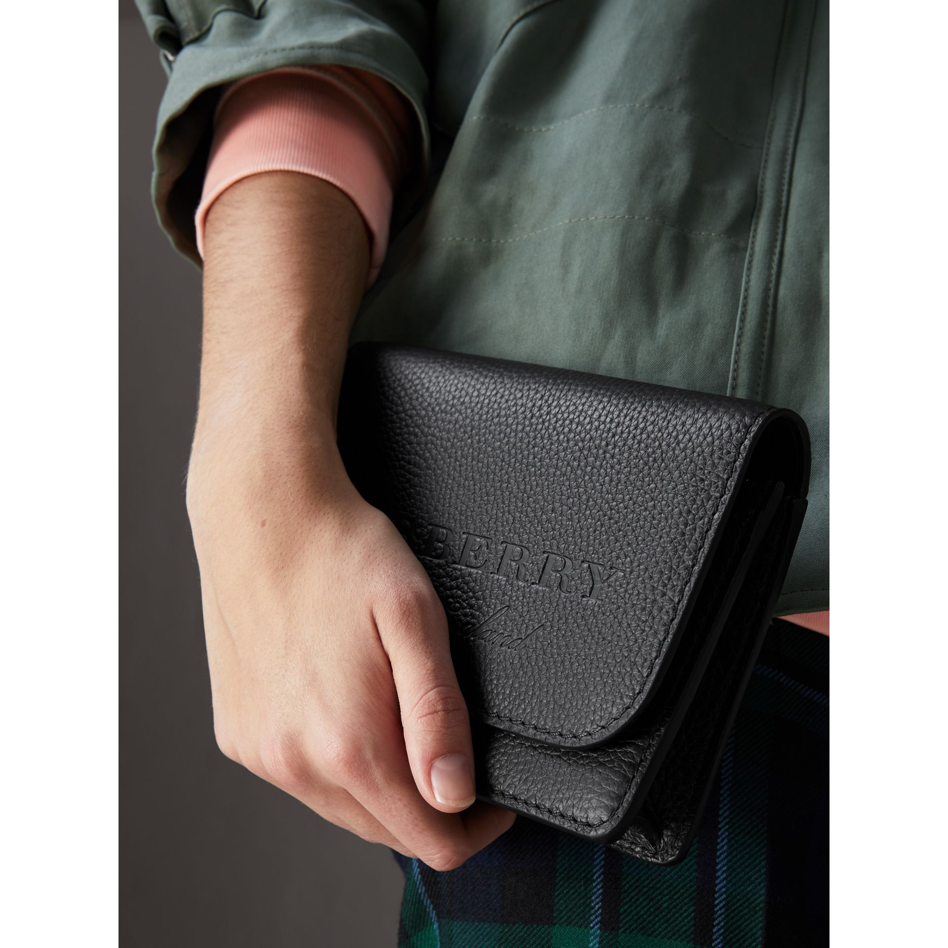 Embossed Leather Wallet with Detachable Strap in Black - Women | Burberry - gallery image 3