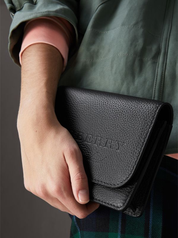 Embossed Leather Wallet with Detachable Strap in Black - Women | Burberry - cell image 3