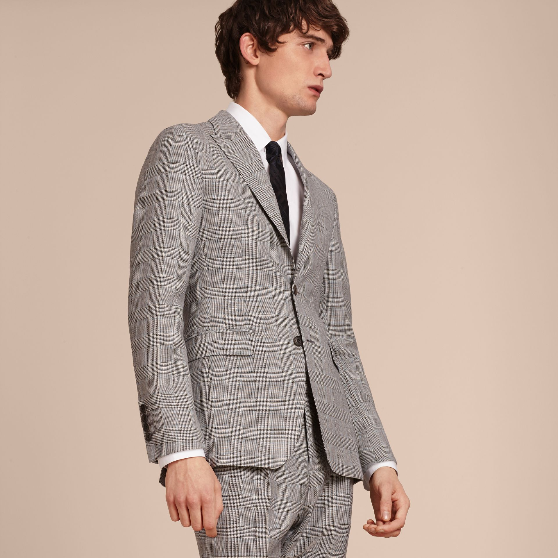 Pale grey Slim Fit Prince of Wales Check Wool Half-canvas Suit - gallery image 8