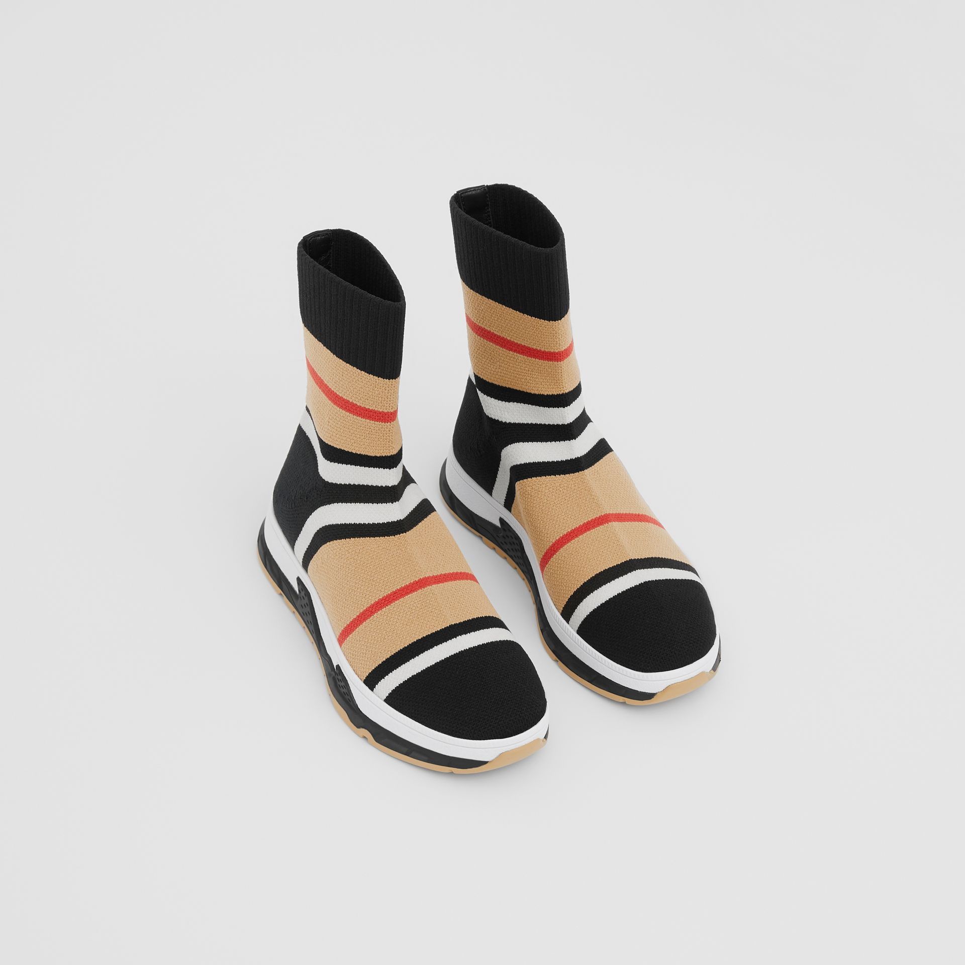 Striped Stretch Knit Sock Sneakers in Black - Children | Burberry United States - gallery image 0