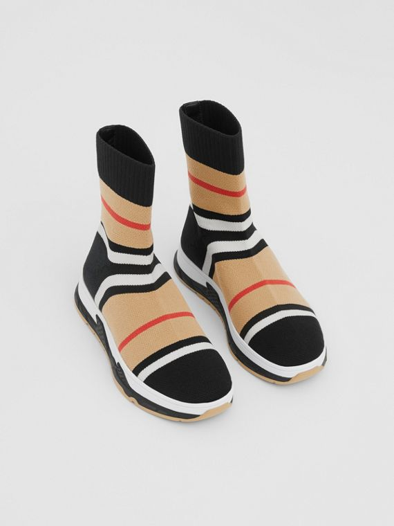 Striped Stretch Knit Sock Sneakers in Black
