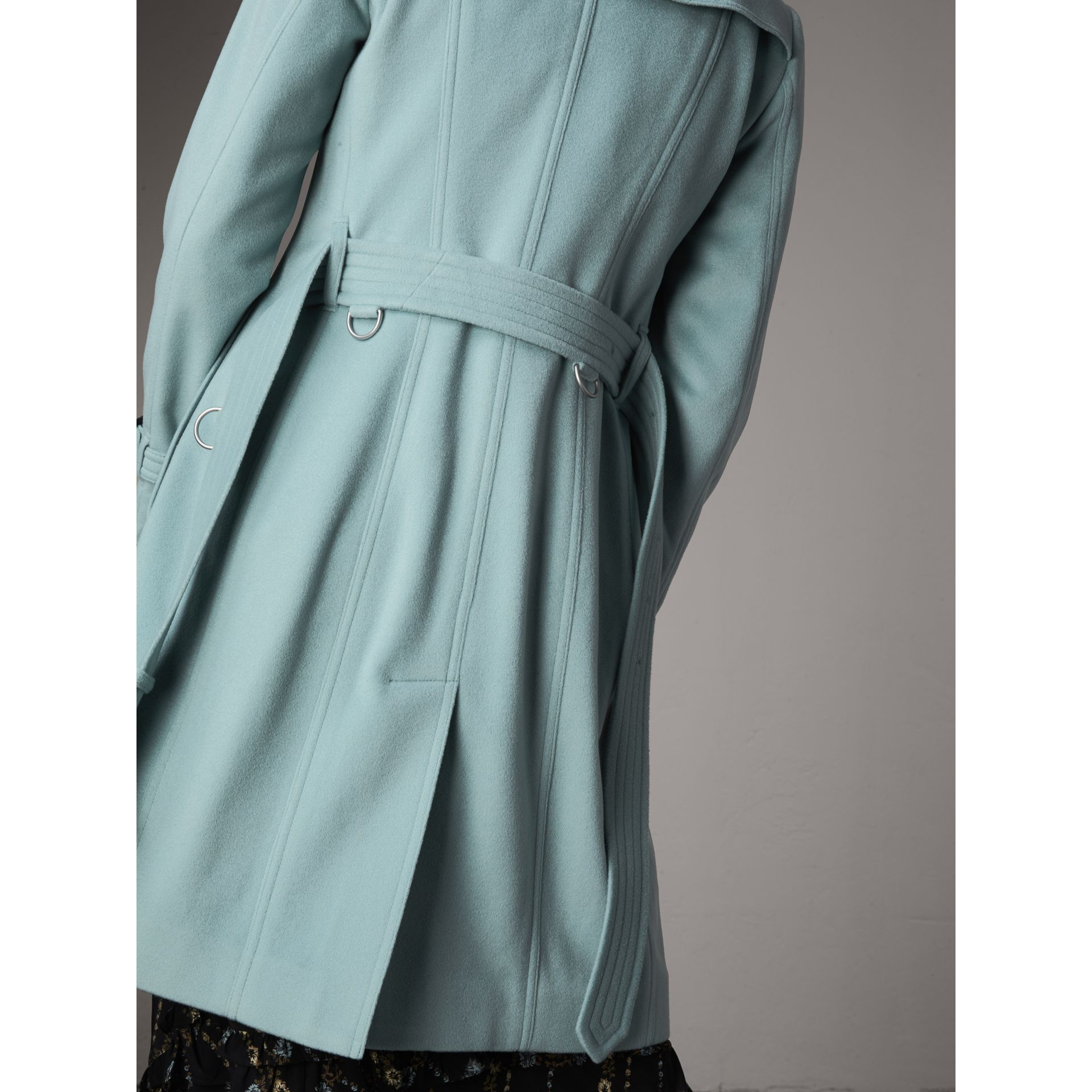 Sandringham Fit Cashmere Trench Coat in Pale Mineral Blue - Women | Burberry - gallery image 5