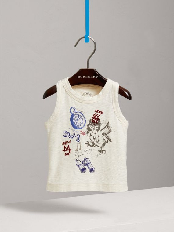 Adventure Motif Cotton Vest in Chalk White