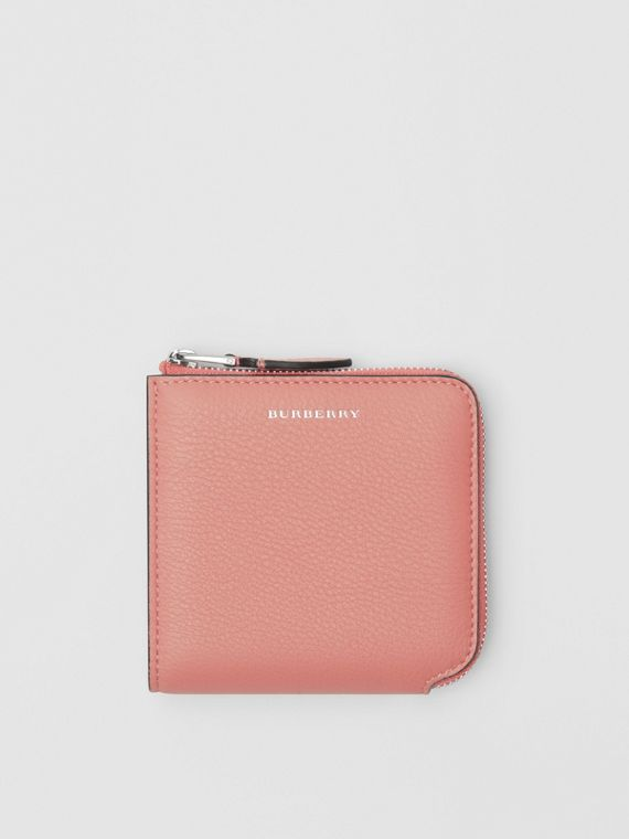 Grainy Leather Square Ziparound Wallet in Dusty Rose