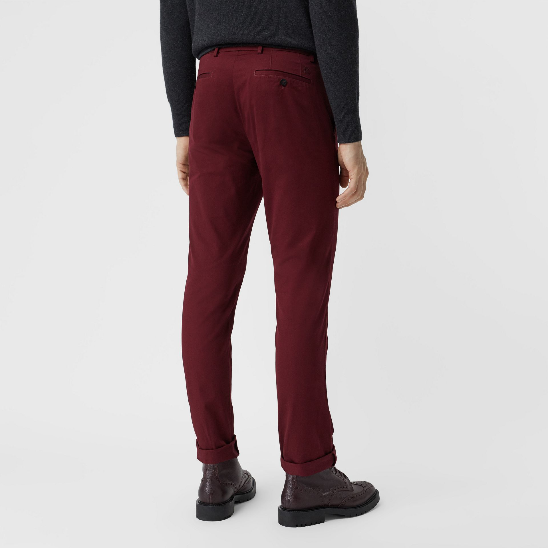 Slim Fit Cotton Chinos in Dark Crimson - Men | Burberry - gallery image 2
