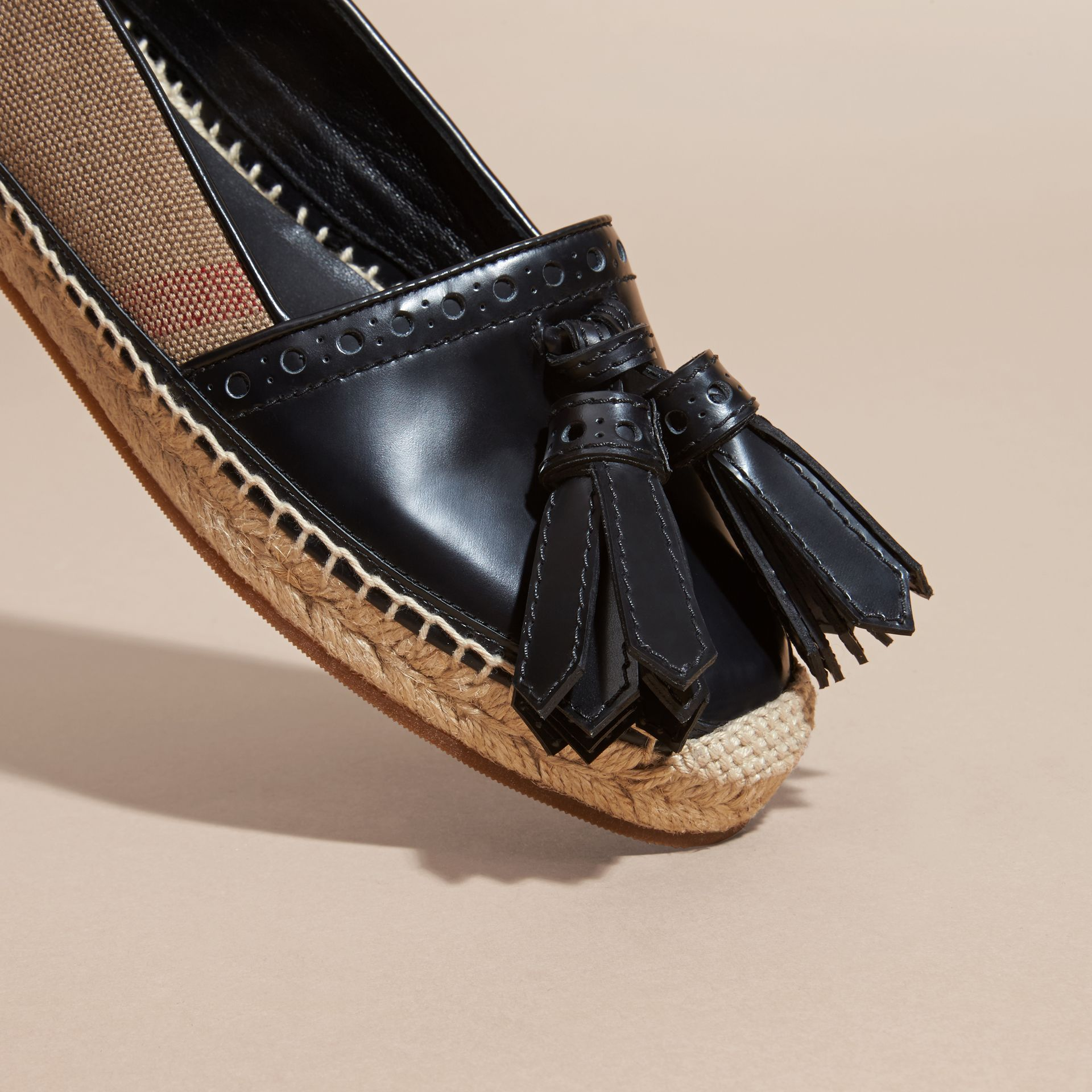Black Tasselled Canvas Check and Leather Espadrilles - gallery image 2