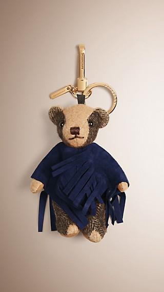 Ciondolo orsetto Thomas con poncho in pelle scamosciata