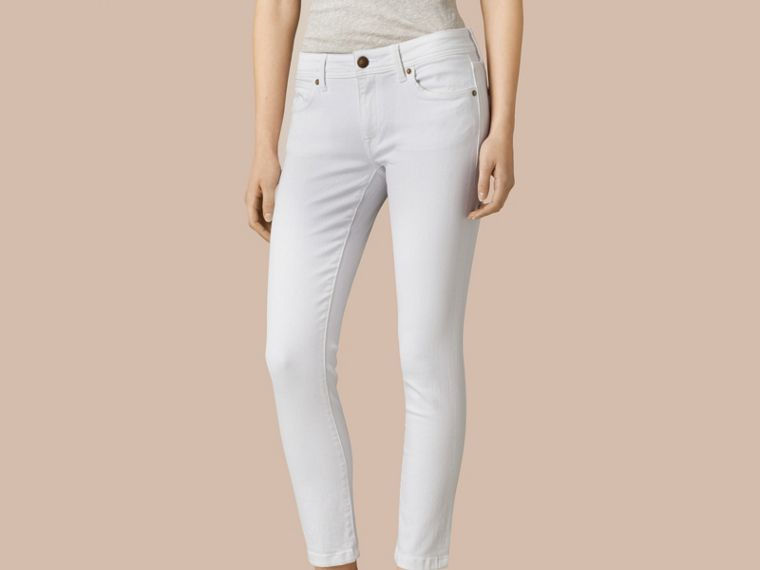 White Skinny Fit Low-Rise Cropped Jeans - cell image 4