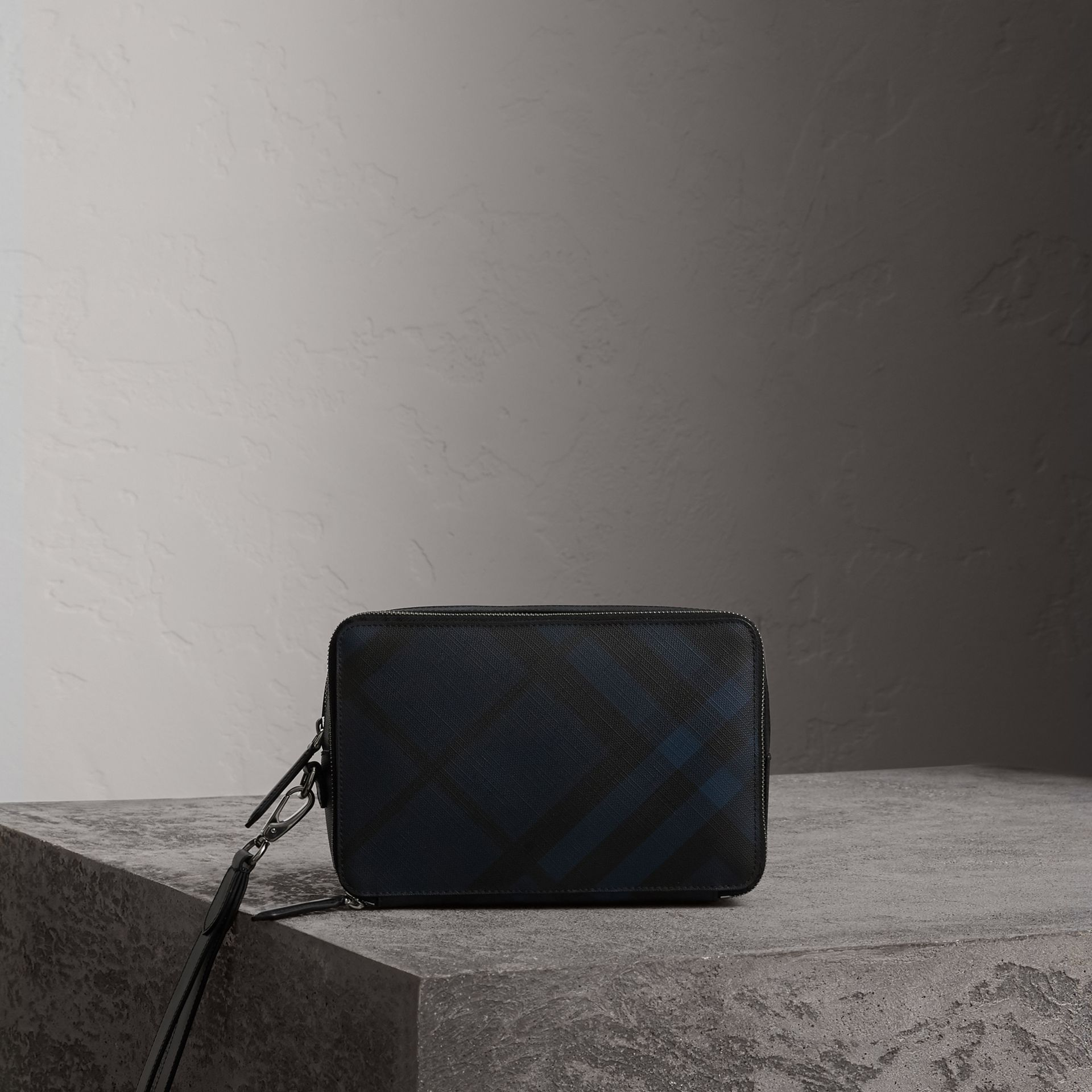 Leather-trimmed London Check Pouch in Navy/black | Burberry Hong Kong - gallery image 0