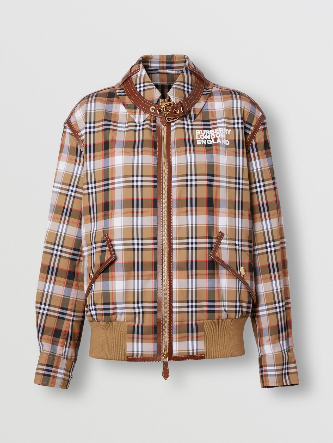 Love Print Check Technical Cotton Blouson in Archive Beige