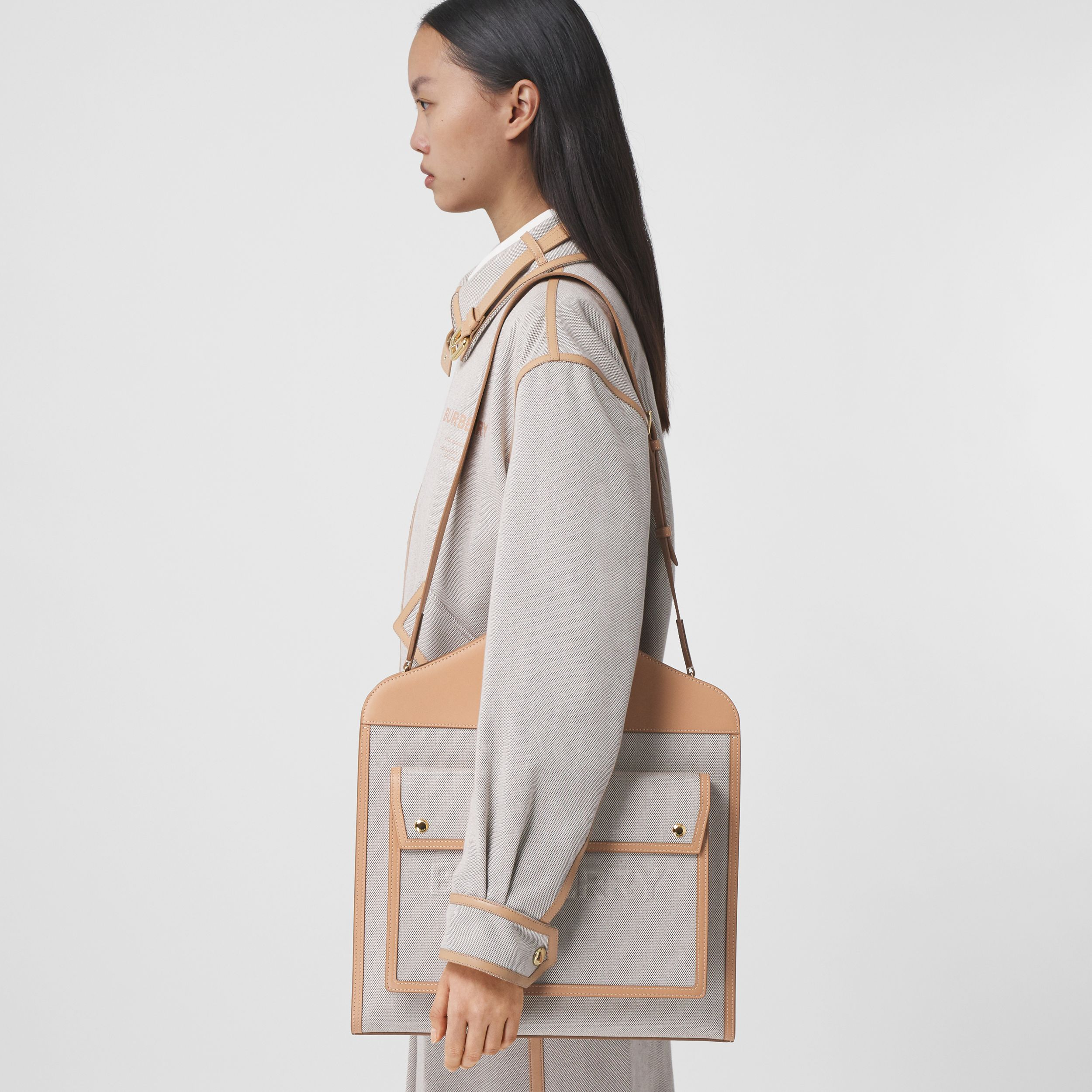 Medium Two-tone Canvas and Leather Pocket Bag in Soft Fawn/warm Sand - Women | Burberry Hong Kong S.A.R. - 3