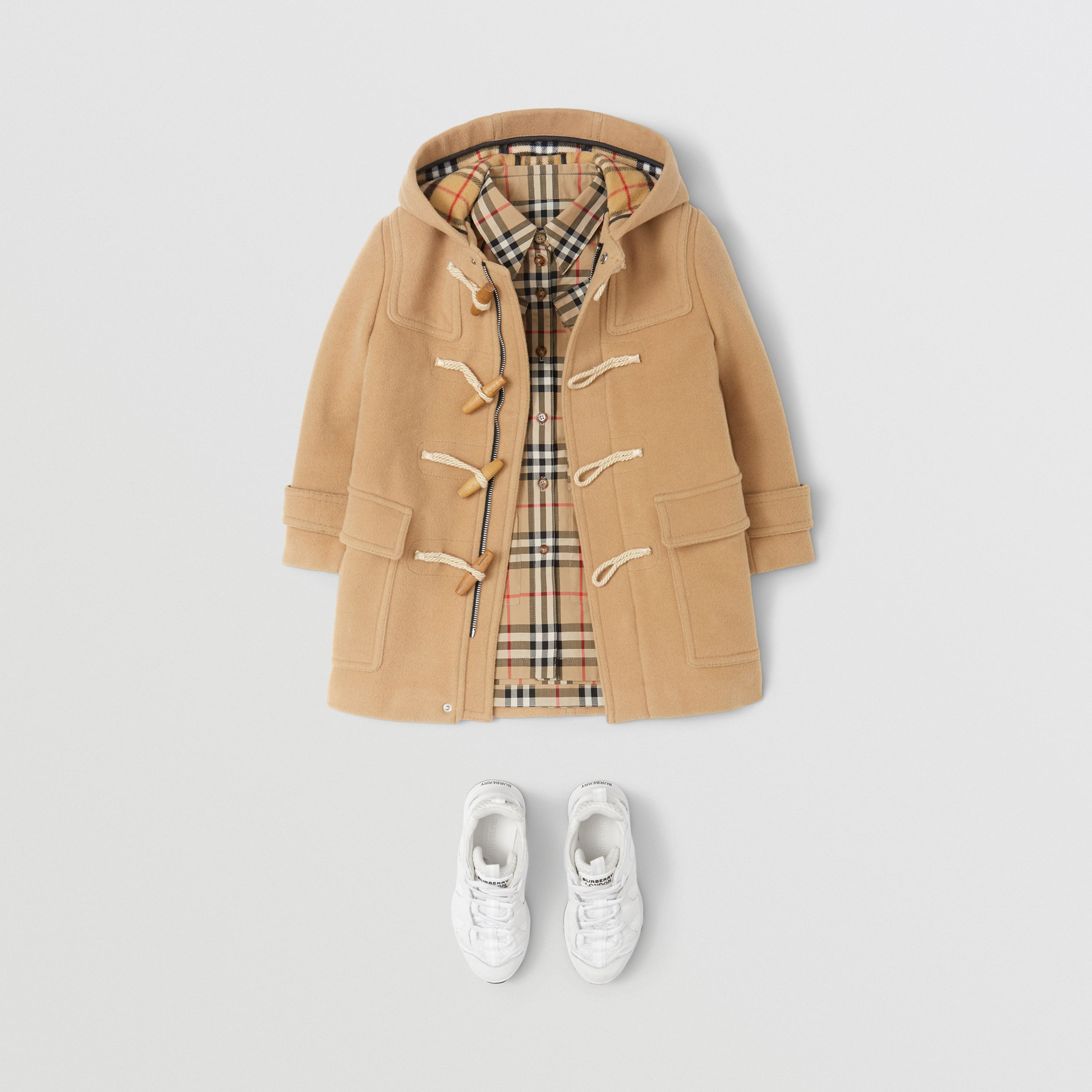 Double-faced Wool Duffle Coat in Antique Yellow | Burberry - 3