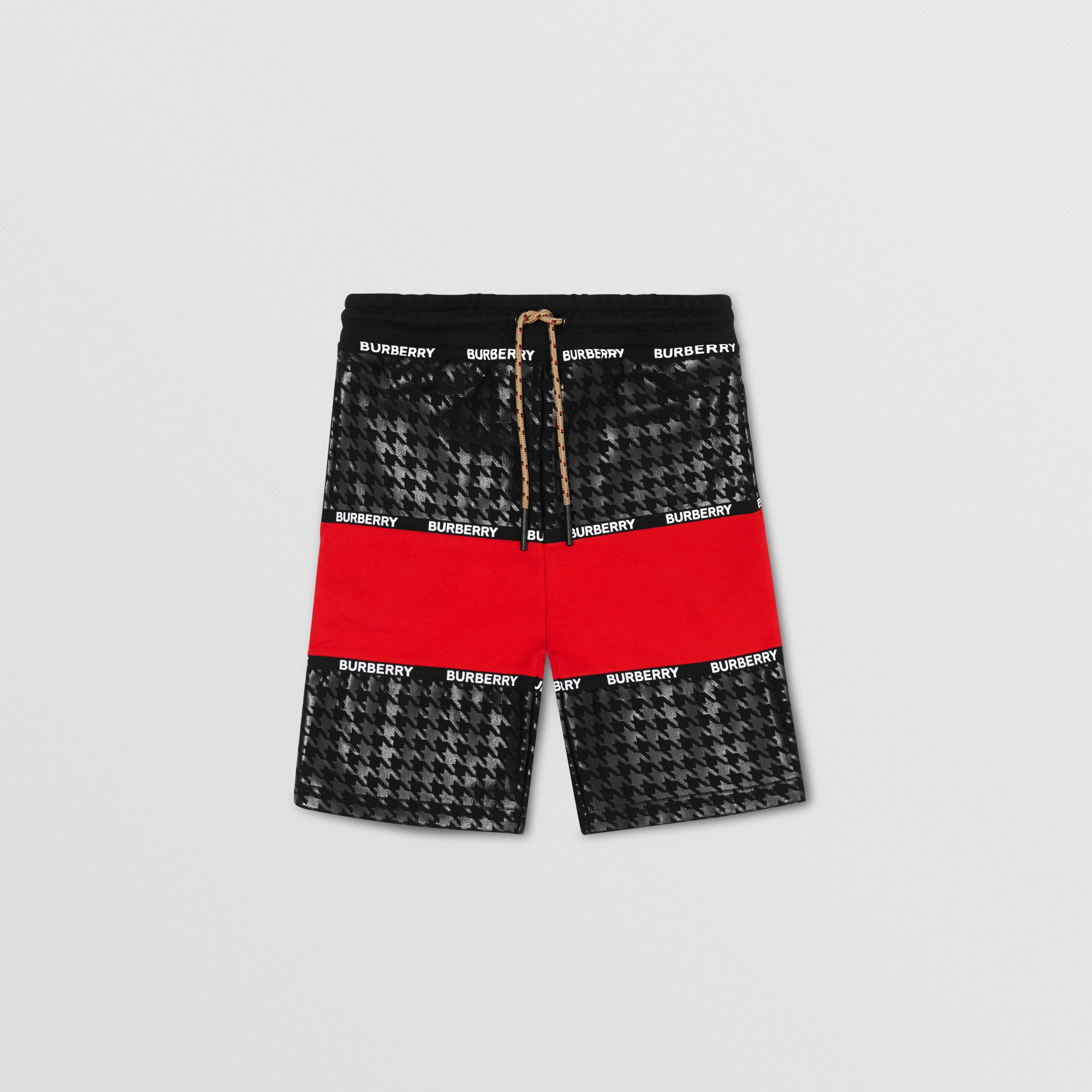 Houndstooth Check Panel Cotton Shorts in Bright Red | Burberry - 1
