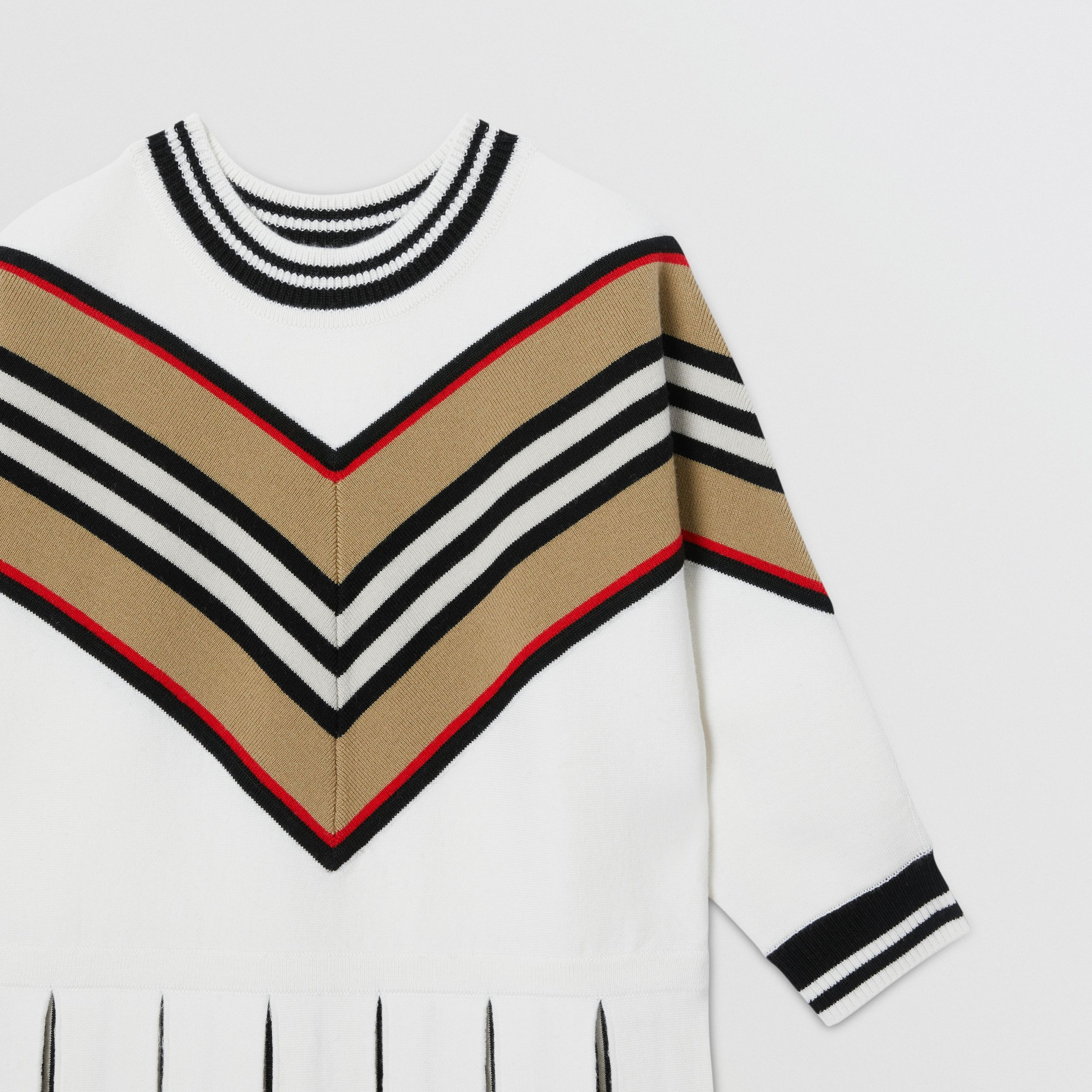 Long-sleeve Icon Stripe Panel Wool Blend Dress | Burberry - 2