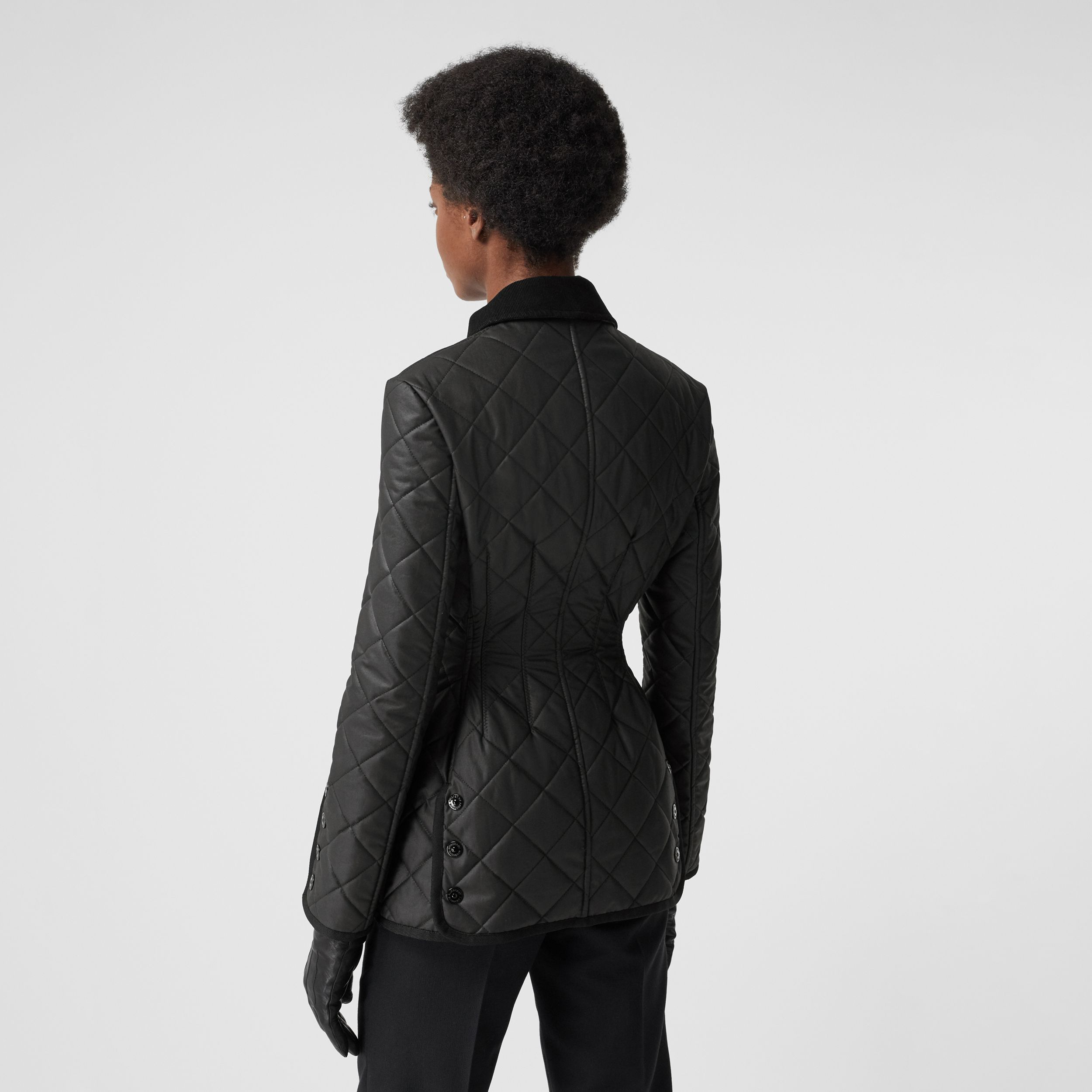 Diamond Quilted Waxed Cotton Riding Jacket in Black - Women | Burberry - 3