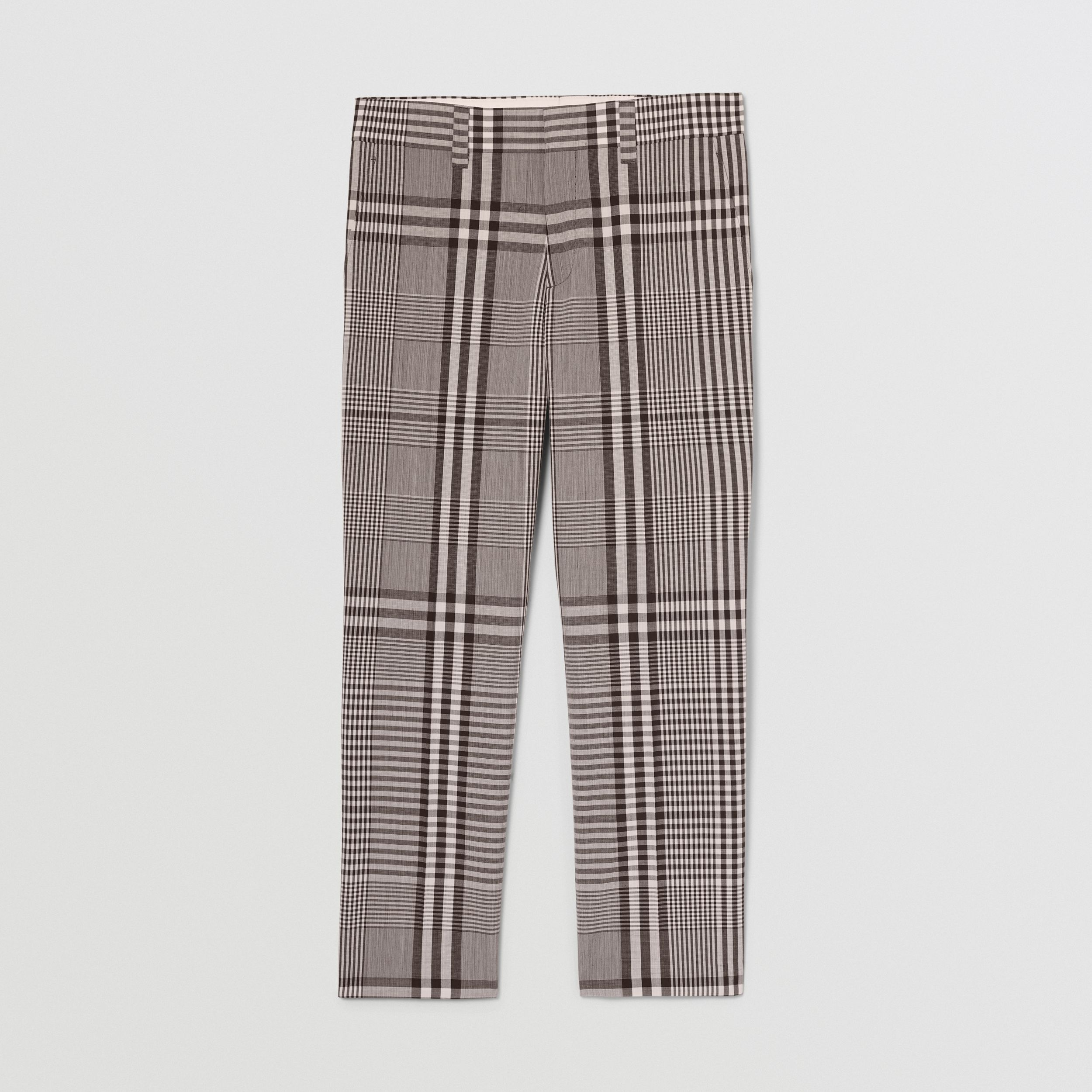 Check Technical Wool Tailored Trousers in Dark Brown | Burberry - 4