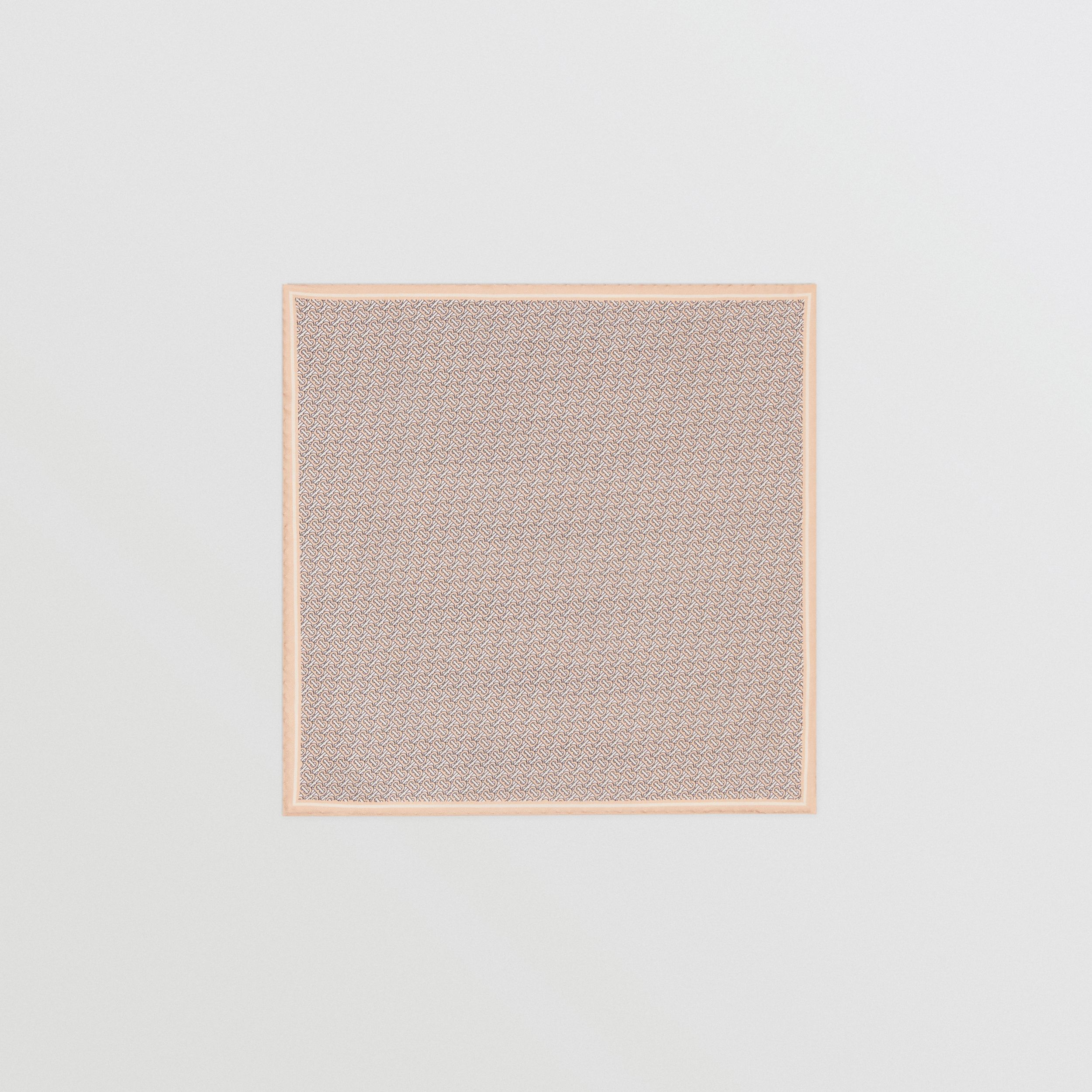 Monogram Print Silk Pocket Square in Blush Pink - Men | Burberry - 4