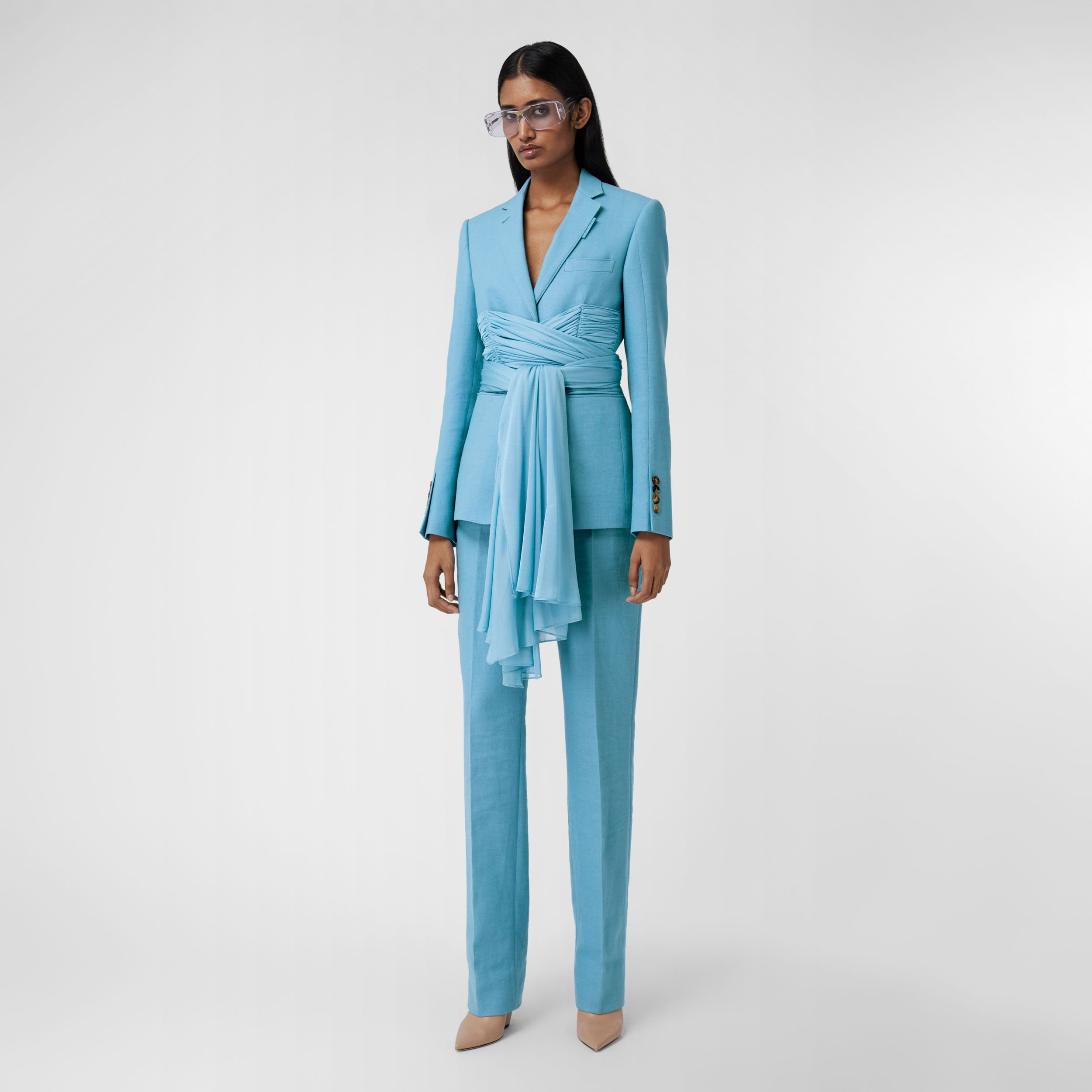 Jersey Sash Detail Wool Ramie Tailored Trousers in Blue Topaz - Women | Burberry - 1