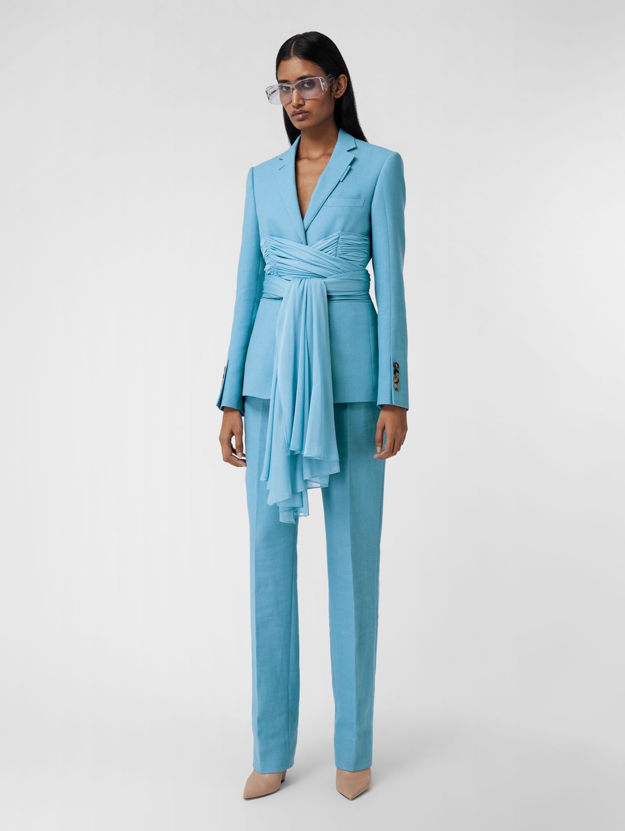 Jersey Sash Detail Wool Ramie Tailored Trousers in Blue Topaz