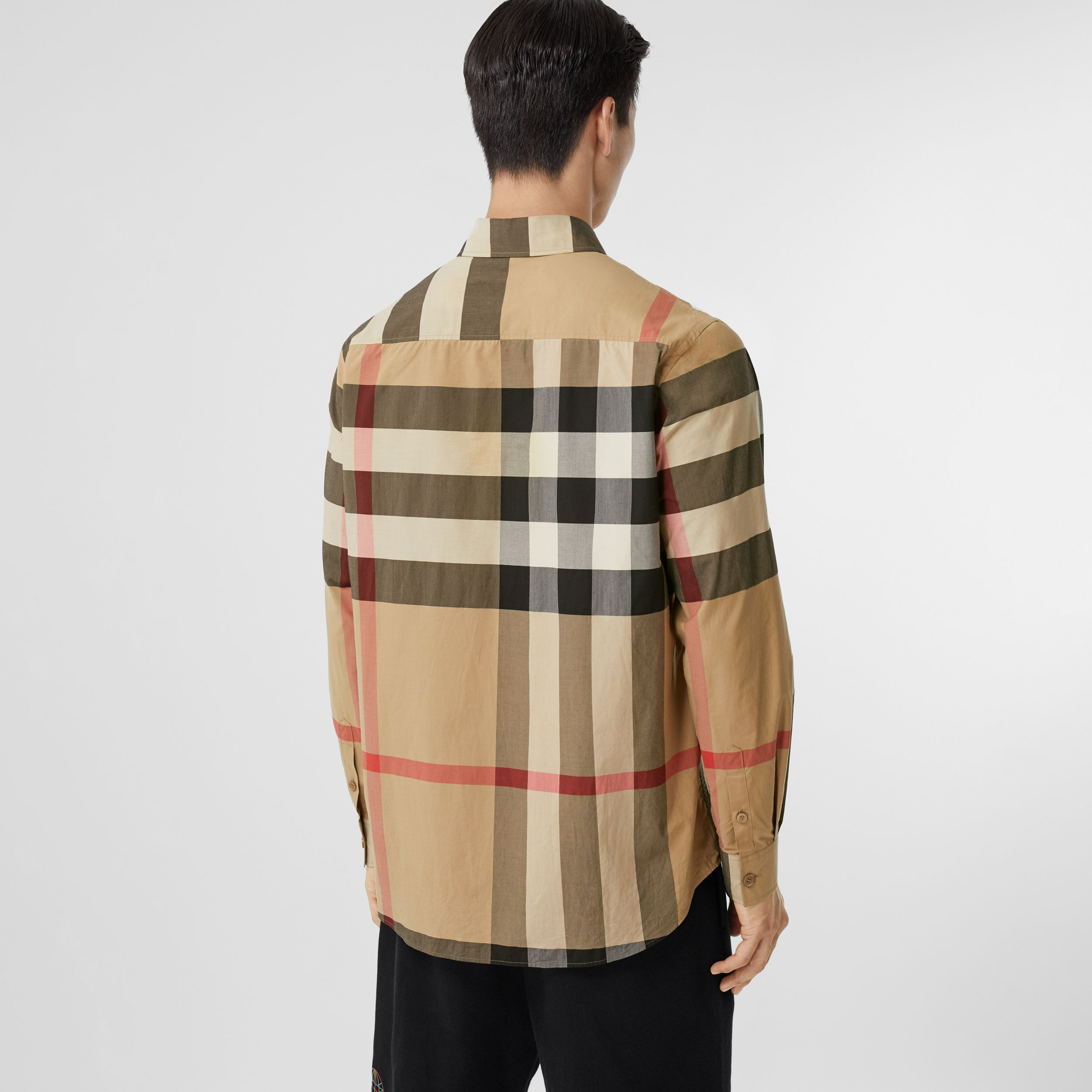Love Print Check Stretch Cotton Oversized Shirt in Archive Beige - Men | Burberry - 3