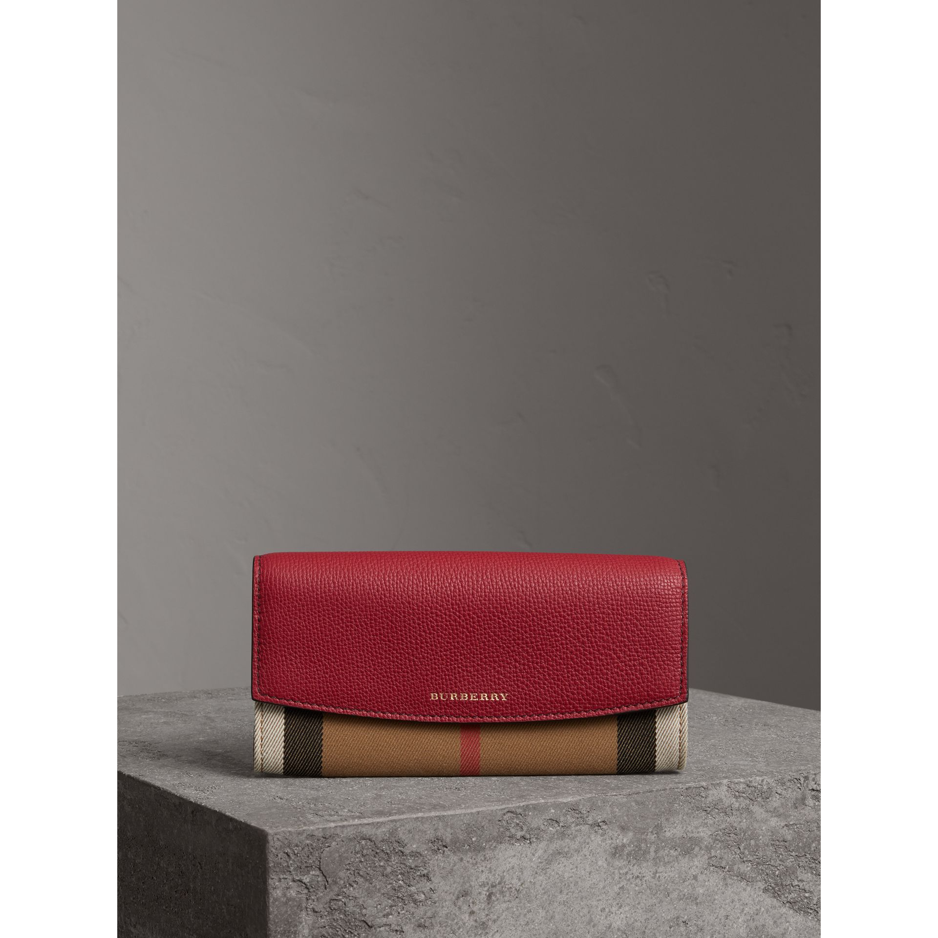 House Check and Leather Continental Wallet in Russet Red - Women | Burberry - gallery image 4