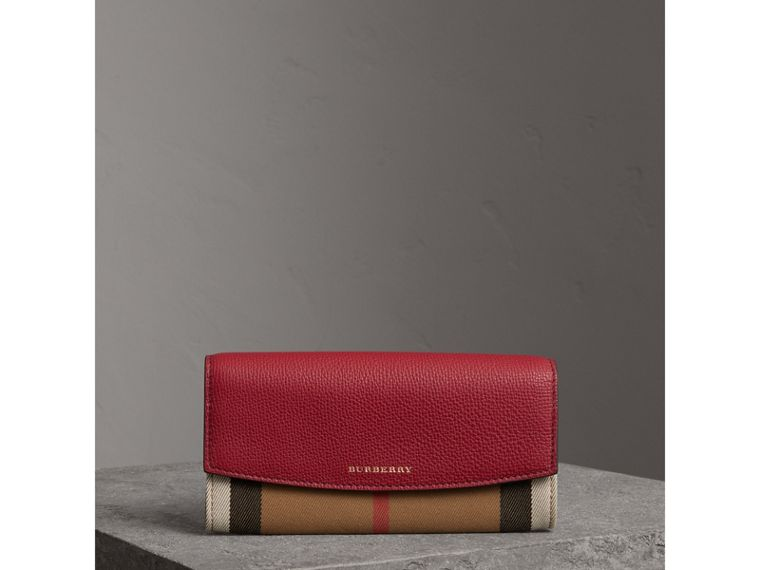 House Check and Leather Continental Wallet in Russet Red - Women | Burberry - cell image 4