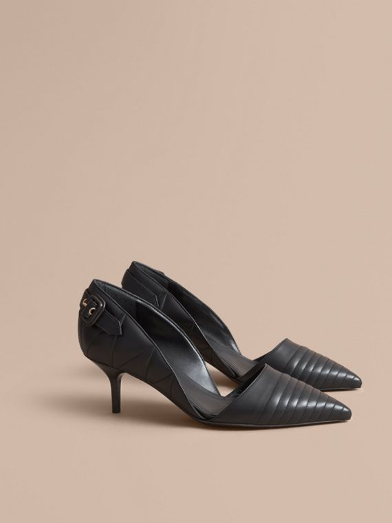 Quilted Leather D'Orsay Pumps Black