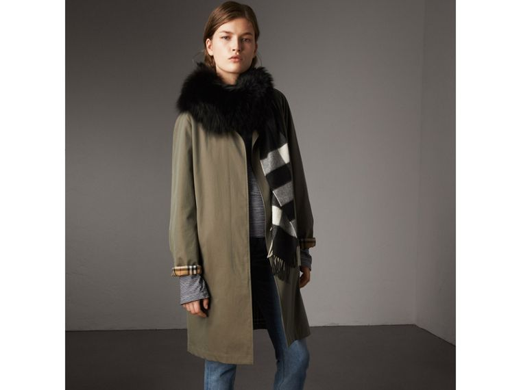 Fox Fur Trim Check Cashmere Scarf in Black/black - Women | Burberry Australia - cell image 4