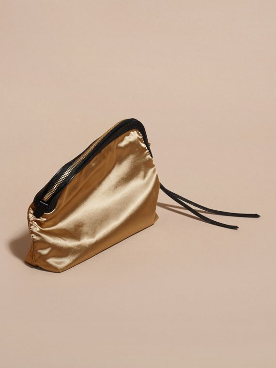 Gold/black Large Zip-top Leather-trimmed Technical Nylon Pouch - cell image 3