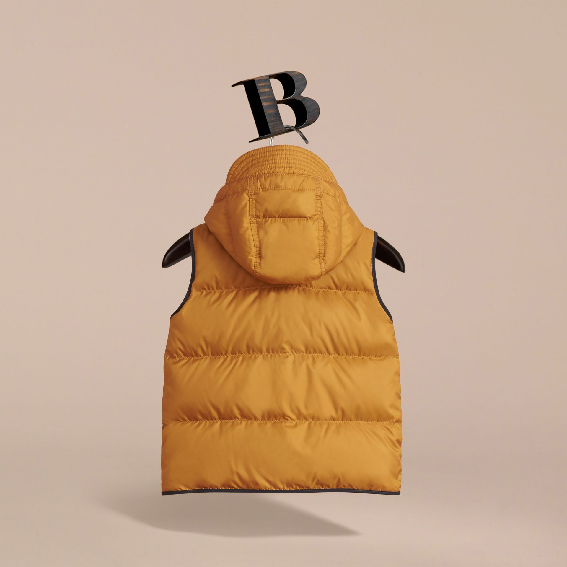 Down-filled Hooded Gilet in Umber Yellow - Boy | Burberry - gallery image 4