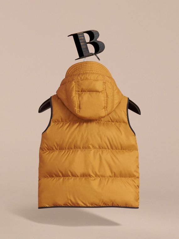 Down-filled Hooded Gilet in Umber Yellow - Boy | Burberry - cell image 3