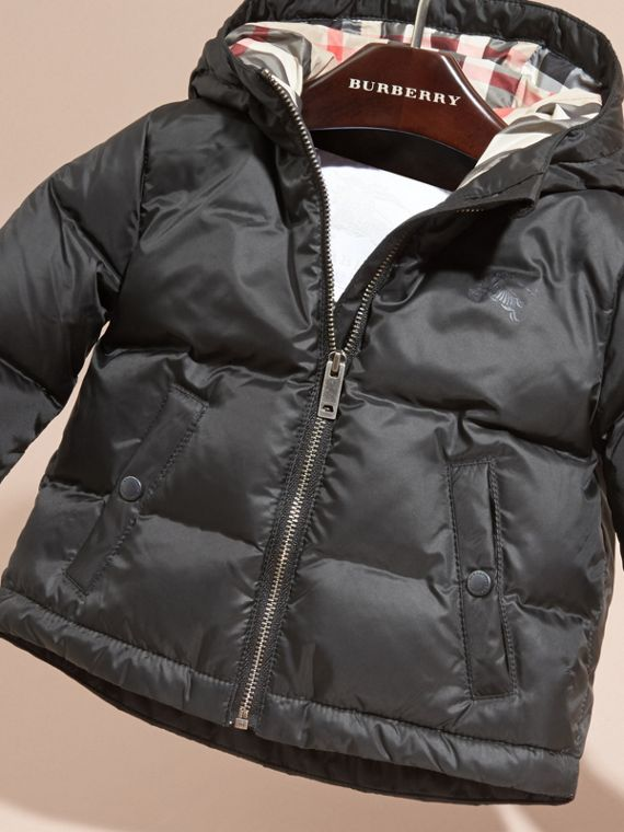 Down-filled Hooded Puffer Jacket in Black | Burberry - cell image 2