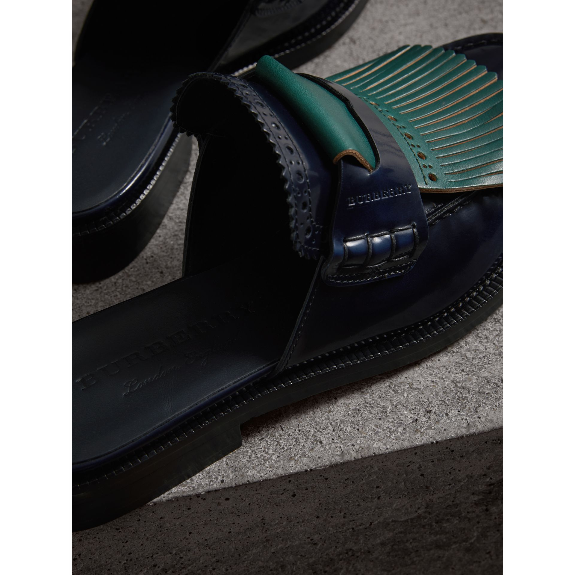 Contrast Kiltie Fringe Leather Mules in Navy - Women | Burberry Canada - gallery image 1
